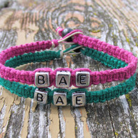 Dark Green and Punk Pink BAE Bracelets, Handmade Hemp Jewelry for Couples or Best Friends