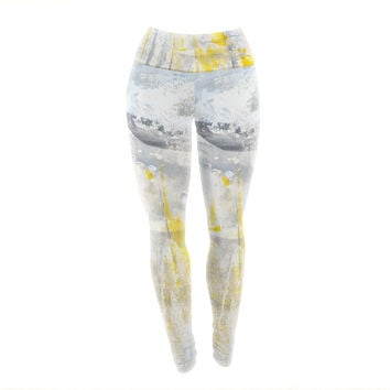 "CarolLynn Tice ""Abstraction"" Grey Yellow Yoga Leggings"