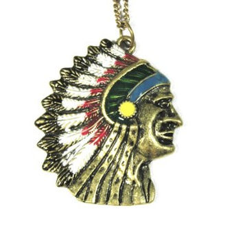 Indian Head Chief Necklace Native American Style NC41 Gold Tone Navajo Cherokee Pendant
