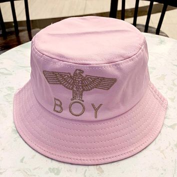 Boy London 2019 new eagle three-dimensional embroidery cotton high-end basin cap fisherman hat Pink