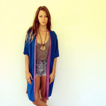 Lou Rose Oversize Jacket // vintage 70s blue dress sun boho festival hippie maxi bohemian gypsy high fashion hipster bohemian ethnic // S/M