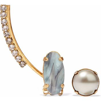 Convertible gold-tone stone, faux pearl and crystal earring | ELIZABETH COLE | Sale up to 70% off | THE OUTNET