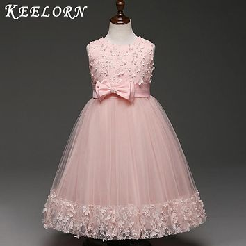 2018 New high quality Flower Girls Party Dress Embroidered Formal Bridesmaid Wedding Girl Christmas Princess Ball Gown Kids
