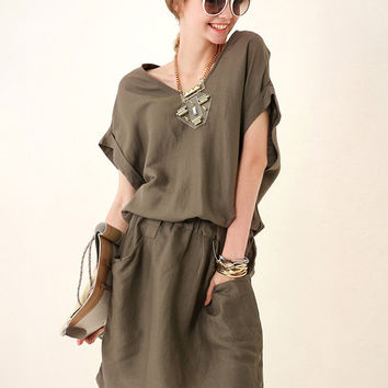 Army Green Short Sleeve V-neck Elastic Waist Blouson Mini Dress
