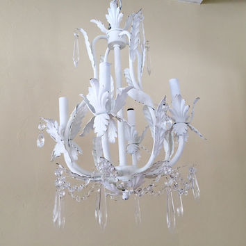 cottage chic Chandelier , distressed, soft white, large, 4 lights