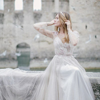 Wedding dress Fani, powder wedding dress, nude wedding dress, ivory wedding dress, Long sleeve wedding dress, simple wedding dress