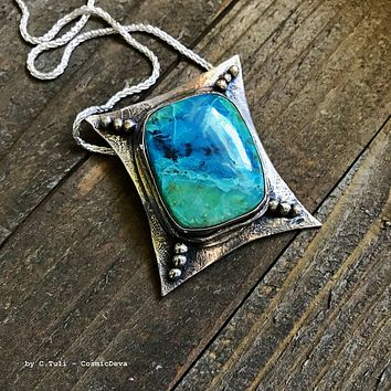 Sterling Silver Pendant Chrysocolla Necklace - Handcrafted