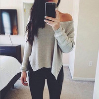 Solid color loose knit Tops Sweater