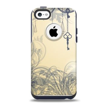 The Vintage Hanging Clocks and Keys Apple iPhone 5c Otterbox Commuter Case Skin Set