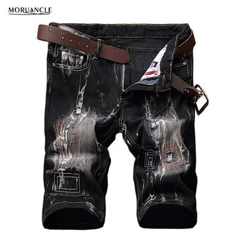 MORUANCLE 2017 New Men's Ripped Jeans Shorts Vintage Male Patched Summer Distressed Denim Shorts Plus Size 28-42 Black Yellow