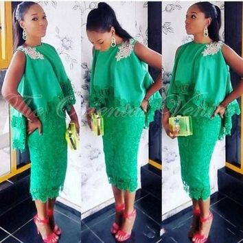 Aso Ebi Style Green Lace Cocktail Dresses Tea Length Applique Formal Party Gowns with Cloak 2017 Sheath Midi Short Prom Dress