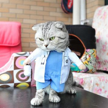 PACGOTH Cat Costumes Funny Cosplay Doctor Pet Clothes Halloween Christmas Party Puppy Dog Suit for Spring Summer Autumn Winter