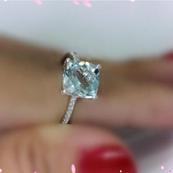 14K White Gold 8mm Cushion VS Aquamarine Ring Engagement Ring Wedding Band Ring Anniversary Ring Aquamarine Jewelry