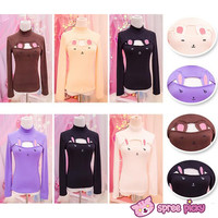 [5 Colors Bunny/Bear] Open Chest Bottoming Cotton T-shirt SP151677 from SpreePicky