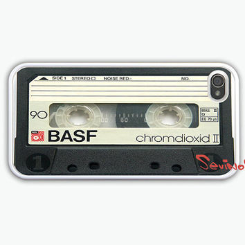 iPhone 4 Case - retro Cassette Tape iPhone 4 Case, iphone 4S case - vintage style white iphone case