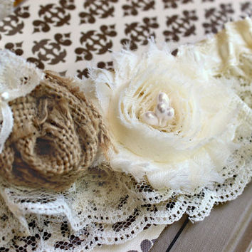 CLAIRE Burlap and Lace Garter Set -Many Colors- Rustic Country Wedding, vintage wedding accessories, Western wedding, burlap wedding garter