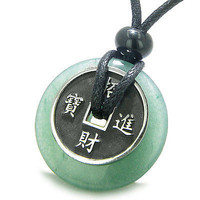 Amulet Lucky Coin Charm Donut in Green Aventurine Good Luck Powers Antiqued Stai