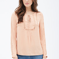 Lace-Trimmed Peasant Top