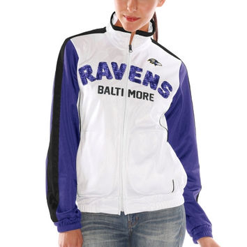 Baltimore Ravens Women's Sideline Track Full Zip Jacket – White