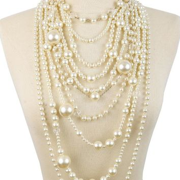 Mia Multi-Functional Simulated Pearl Statement Necklace and Earrings Set