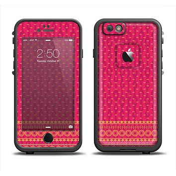 The Tall Pink & Orange Vintage Pattern Apple iPhone 6 LifeProof Fre Case Skin Set