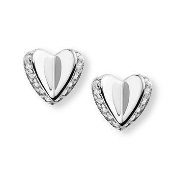 Sterling Silver Folded Heart Studs