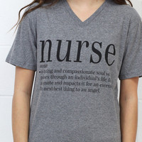 Nurse Webster Definition V-neck Tee {H. Grey}