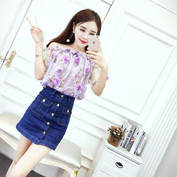 2018 New Summer Cute Slash neck Floral Small Clear Blouse Shirt Pink Lavender 9116