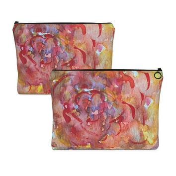 Floral makeup bag, Cosmetic tote, Carry All Pouch, pretty zipper tote, flower pencil case, accessory case, travel pouch, abstract pouch