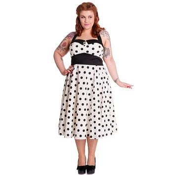 Hell Bunny 60's Classic Vintage Design White Black Mod Dots Polka Dot Halter Party Dress