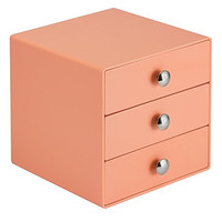 InterDesign 3 Drawer Storage Organizer for Cosmetics, Makeup, Beauty Products and Office Supplies, Coral