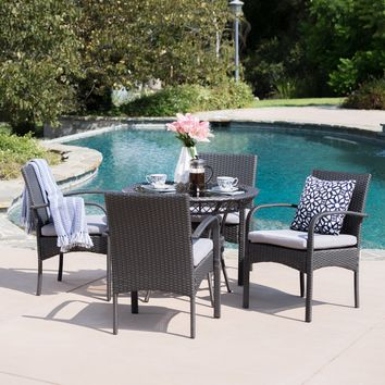 Chase Outdoor 5 Piece Gray Wicker Dining Set with Tempered Glass Table Top