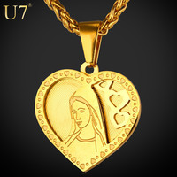 U7 Christian Jewelry Virgin Mary Pendant Necklace Women Gold Plated Stainless Steel Love Heart Necklace Gift Lucky Jewelry P724