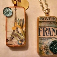 French Necklaces, French Inspired,Altered Domino, Altered Art Domino, Altered Art Jewelry, Recycled Domino, Upcycled Domino, Domino Necklace