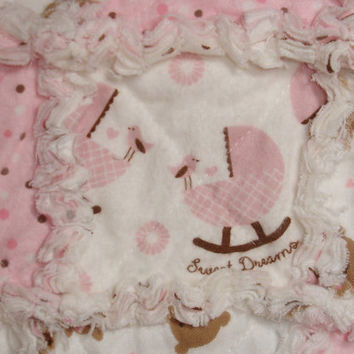 Baby Blanket Girl Rag Quilt  Pink White Bears  by KeriQuilts
