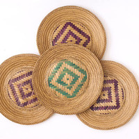 Vintage Woven Wall Baskets, Round Rattan Plate Shaped Wall Hanging Collage, Green Purple Bohemian Southwestern Design