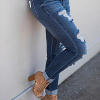 Off She Goes Distressed Mid Rise Kancan Skinny Jean (Dark Wash)