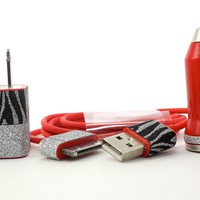 Red iPhone Charger set with black and silver zebra print trim - ipod and ipad compatible