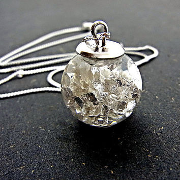 925 Sterling: FLOATING sterling leaf foil in water filled glass orb on delicate chain. Extraordinary jewelry for her.