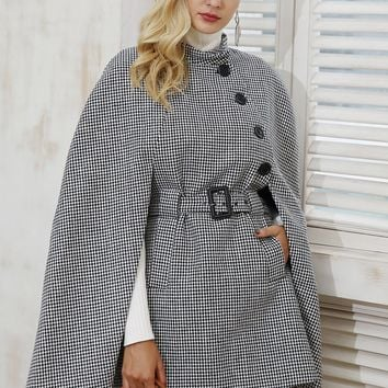 Hounstooth Long Sleeve Cape Look Belted Coat