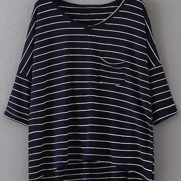 Navy V Neck Dip Hem Pocket Stripe T-shirt