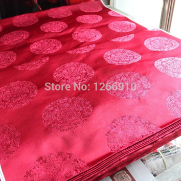 chinese silk brocade  fabric cheongsam cushion Claret back five 5 dragons circle classic pattern Tapestry satin