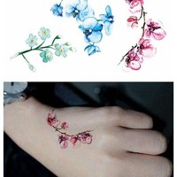 Water Transfer fake tattoo  watercolor Peach blossom flower tatoo Waterproof Temporary  flash tatto for  woman gril