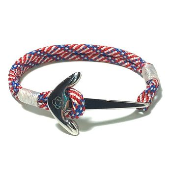 Patriotic Nautical Anchor Bracelet Stainless Steel 187