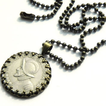 Vintage Coin Necklace // Republic of Panama Coin Necklace // Brass Ball Chain Unisex Coin Necklace