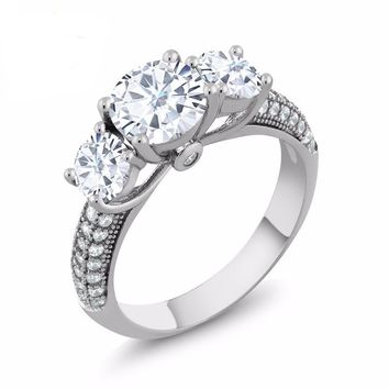 2.66 Ct Round White Created Moissanite 925 Sterling Silver Ring