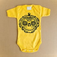 Baby Clothes Pumpkin Tattoo Bodysuit. Cute Halloween 3 6 9 month tee. Day of the dead romper Infant Toddler Kid shirt printed Jack-O-Lantern