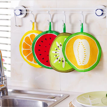 Hanging Fruit Pattern Cartoon Towel Kitchen Towel cloth With Water Absorbing Cloth Towel Handkerchief For Children aTRQ0310