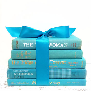 Turquoise Books, Teal Books, Aqua Blue Books, Beach Wedding, Decorative Books, Beachouse, Bluegreen Decor, Book Photo Props, Interior Design