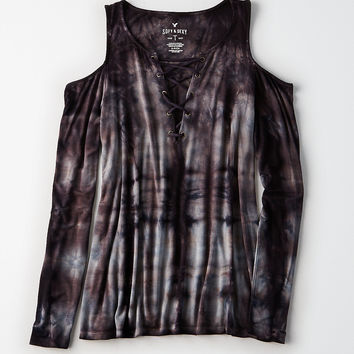 AEO Soft & Sexy Lace-Up Cold Shoulder T-Shirt, Black